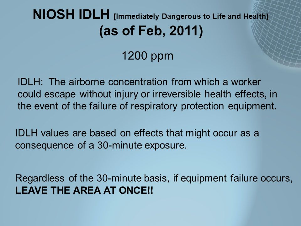 NIOSH IDLH [Immediately Dangerous to Life and Health]